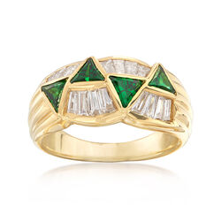 C. 1980 Vintage .80 ct. t.w. Tsavorite and .62 ct. t.w. Diamond Ring in 18kt Yellow Gold, , default