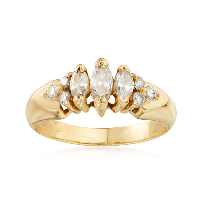 C. 1990 Vintage .60 ct. t.w. Diamond Ring in 14kt Yellow Gold. Size 5.5, , default