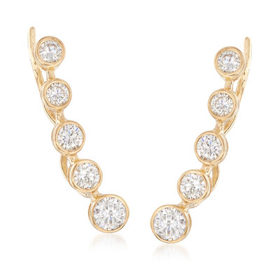 1.40 ct. t.w. Bezel-Set CZ Ear Climbers in 14kt Yellow Gold, , default