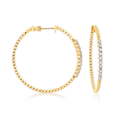Gabriel Designs .43 ct. t.w. Diamond Beaded Hoop Earrings in 14kt Yellow Gold, , default