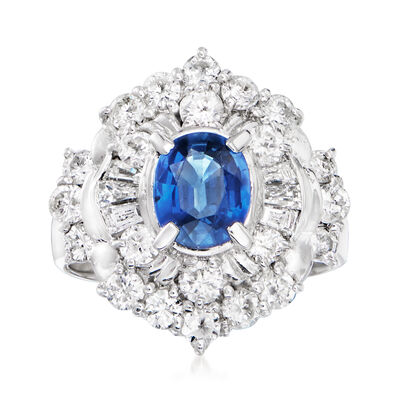 C. 1990 Vintage 1.37 Carat Sapphire and 1.64 ct. t.w. Diamond Cocktail Ring in Platinum