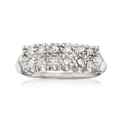 C. 1970 Vintage .30 ct. t.w. Diamond Double-Row Ring in 14kt White Gold