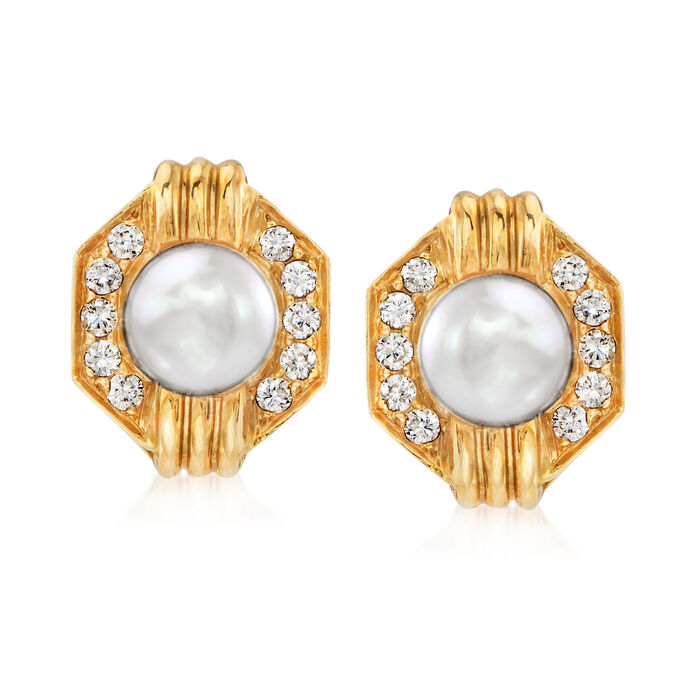 C. 1980 Vintage 8mm Cultured Pearl and .60 ct. t.w. Diamond Earrings in 18kt Yellow Gold