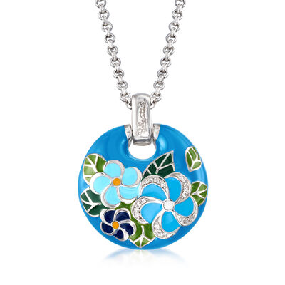 "Belle Etoile ""Melia"" Multicolored Enamel and .10 ct. t.w. CZ Floral Pendant in Sterling Silver, , default"