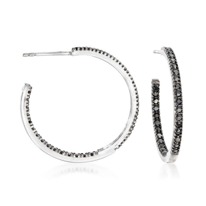 """1.20 ct. t.w. Black Spinel Inside-Outside Hoop Earrings in Sterling Silver. 1"""""""