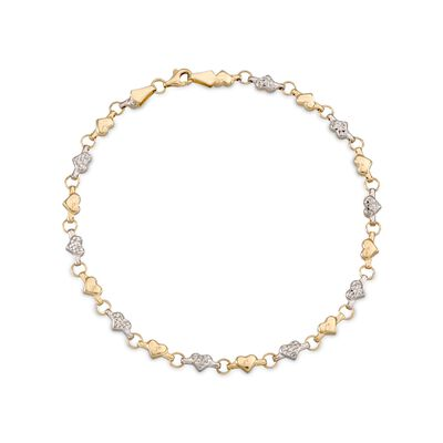 14kt Two-Tone Gold Heart Anklet, , default