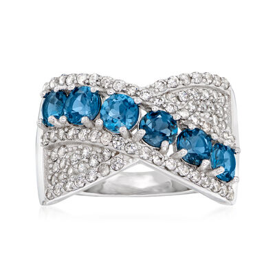 2.50 ct. t.w. London Blue and White Topaz Ring in Sterling Silver
