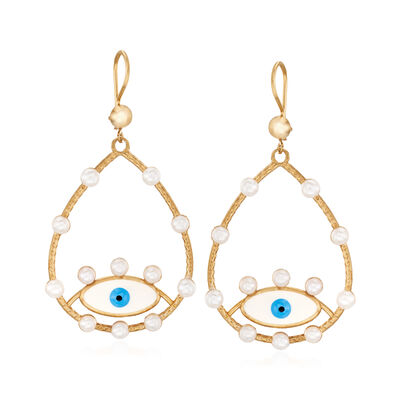 3.5-4mm Cultured Pearl and Enamel Evil Eye Drop Earrings in 18kt Gold Over Sterling, , default