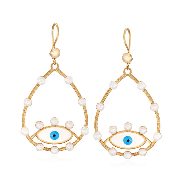 3.5-4mm Cultured Pearl and Enamel Evil Eye Drop Earrings in 18kt Gold Over Sterling
