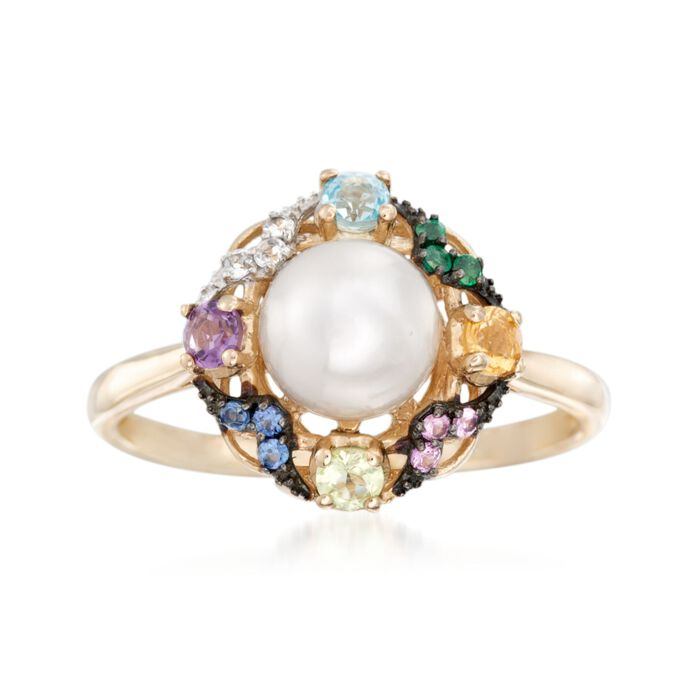7-7.5mm Cultured Pearl and .37 ct. t.w. Multi-Stone Ring in 14kt Yellow Gold. Size 5, , default