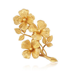 C. 1970 Vintage 14kt Yellow Gold Flower Pin , , default