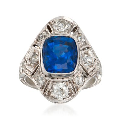 C. 2000 Vintage 2.50 Carat Sapphire and .90 ct. t.w. Diamond Dinner Ring in Platinum, , default