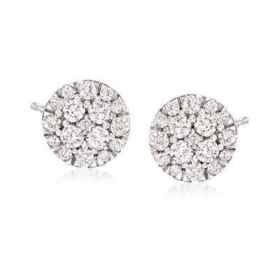 1.00 ct. t.w. Diamond Cluster Earrings in 14kt White Gold, , default
