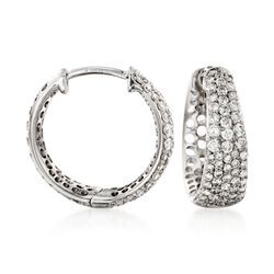 "Roberto Coin ""Scalare"" .65 ct. t.w. Diamond Small Hoop Earrings in 18kt White Gold, , default"