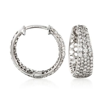 """Roberto Coin """"Scalare"""" .65 ct. t.w. Diamond Small Hoop Earrings in 18kt White Gold, , default"""