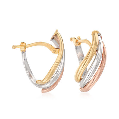 Italian Twisted Drop Earrings in 14kt Tri-Colored Gold, , default