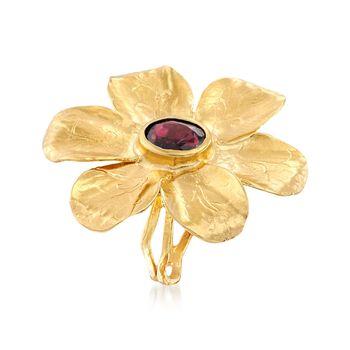 1.90 Carat Garnet Flower Ring in 18kt Yellow Gold Over Sterling Silver , , default