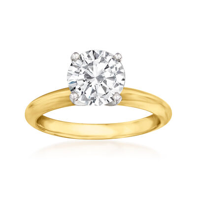1.81 Carat Certified Diamond Solitaire Engagement Ring in 14kt Yellow Gold