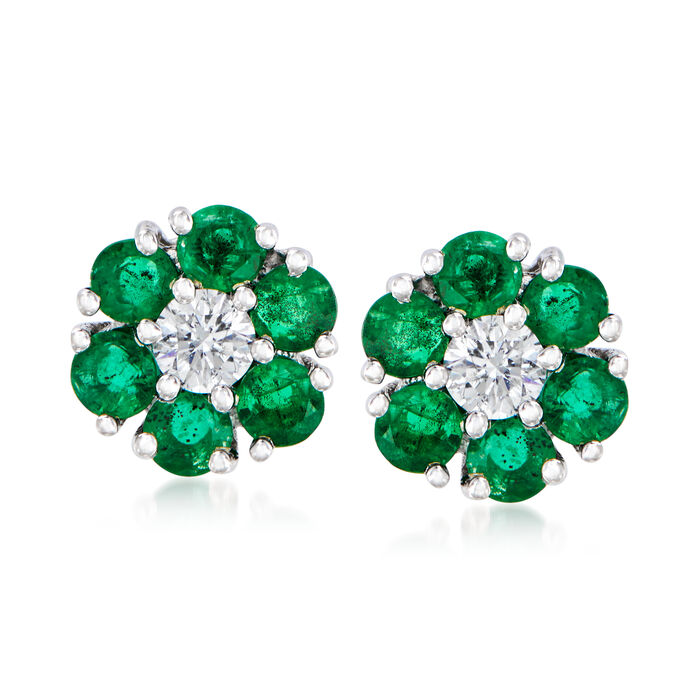1.20 ct. t.w. Emerald and .26 ct. t.w. Diamond Flower Stud Earrings in 14kt White Gold