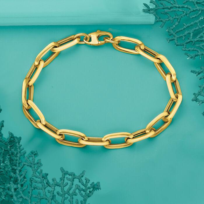 Italian 14kt Yellow Gold Oval Paper Clip Link Bracelet