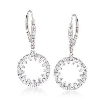 1.20 ct. t.w. Round and Baguette CZ Open Circle Drop Earrings in Sterling Silver , , default