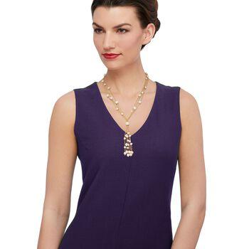 """6-9mm Cultured Pearl Tassel Necklace in 14kt Gold Over Sterling. 19.5"""", , default"""