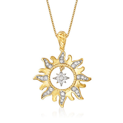 .25 ct. t.w. Diamond Sun with Star Necklace in 18kt Yellow Gold Over Sterling Silver, , default