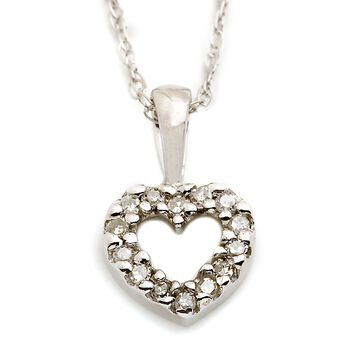 "Child's Heart Diamond Accent Necklace in 14kt White Gold. 15""  (Full Name), , default"