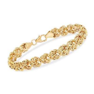 Italian Rosetta-Link Bracelet in 14kt Yellow Gold, , default