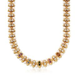 "C. 1980 Vintage 7.5mm Cultured Pearl and 4.50 ct. t.w. Multi-Stone Necklace in 14kt Yellow Gold. 16"", , default"