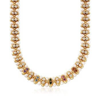"""C. 1980 Vintage 7.5mm Cultured Pearl and 4.50 ct. t.w. Multi-Stone Necklace in 14kt Yellow Gold. 16"""", , default"""