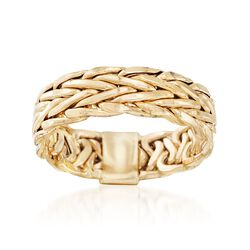 14kt Yellow Gold Wheat Link Ring, , default