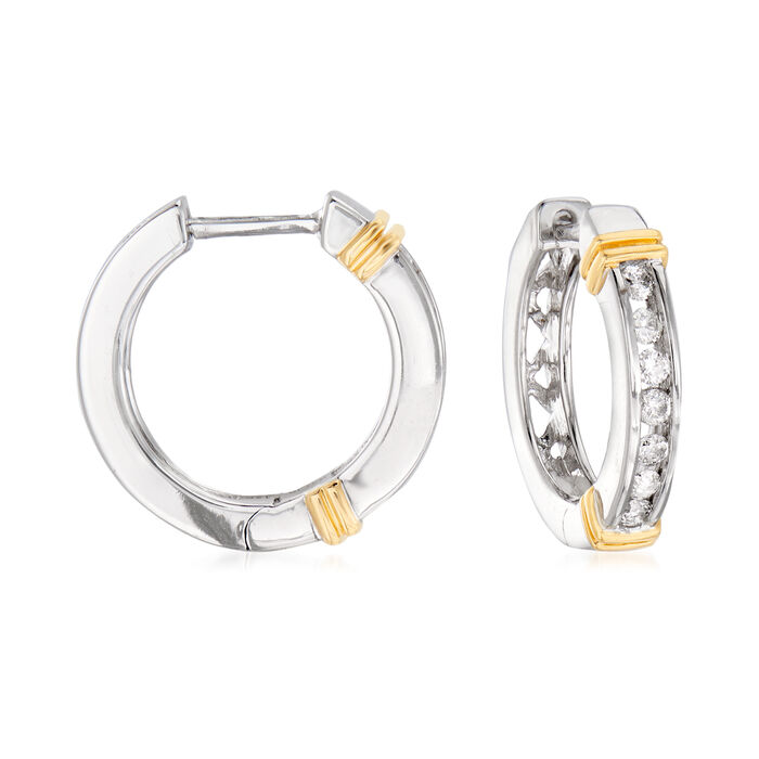 .25 ct. t.w. Diamond Hoop Earrings in 14kt Two-Tone Gold. 1/2""
