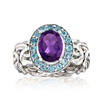 1.60 Carat Amethyst and .60 ct. t.w. Sky Blue Topaz Byzantine Ring in Sterling Silver