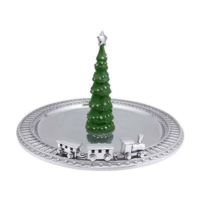 Mariposa Green Enamel Tree and Train Server, , default
