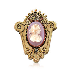 C. 1940 Vintage Pink Agate Oval Cameo Crest Pin in 14kt Yellow Gold, , default