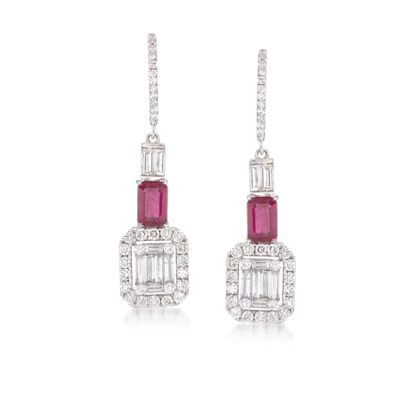 1.63 ct. t.w. Diamond and 1.40 ct. t.w. Ruby Drop Earrings in 18kt White Gold, , default