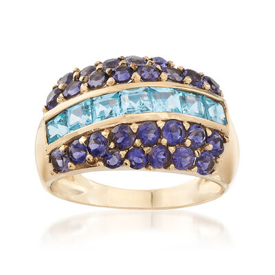 C. 1990 Vintage 1.40 ct. t.w. Blue Topaz and 1.00 ct. t.w. Iolite Ring in 14kt Yellow Gold, , default