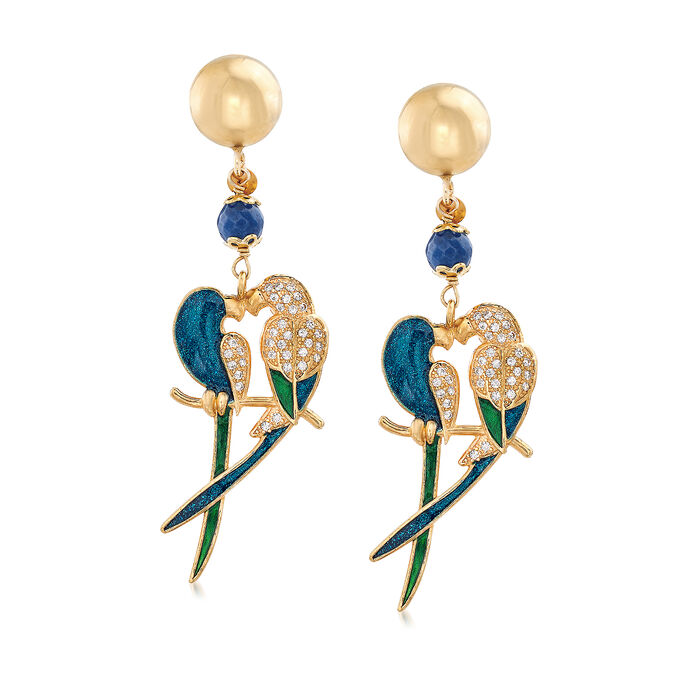 Italian 3.00 ct. t.w. Blue Quartzite and  .55 ct. t.w. CZ Parrot Drop Earrings in 18kt Gold Over Sterling, , default