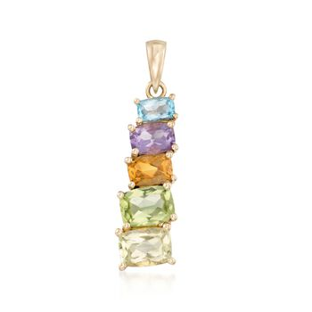 2.70 ct. t.w. Multi-Stone Stepped Pendant in 14kt Yellow Gold, , default