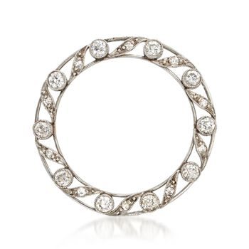 C. 1950 Vintage .95 ct. t.w. Diamond Open Circle Pin in Platinum and 14kt Gold , , default