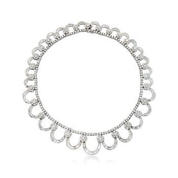 "C. 1980 Vintage 40.70 ct. t.w. Diamond Collar Necklace in 18kt White Gold. 15.5"", , default"
