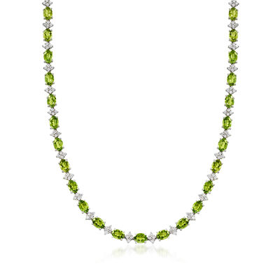C. 2000 Vintage 28.45 ct. t.w. Green Tourmaline and 2.89 ct. t.w. Diamond Necklace in Platinum