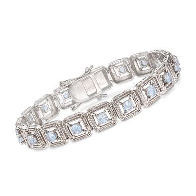 3.70 ct. t.w. Aquamarine Bracelet in Sterling Silver, , default