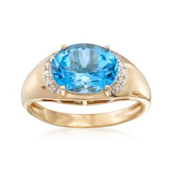 2.90 Carat Blue Topaz Ring in 14kt Yellow Gold, , default