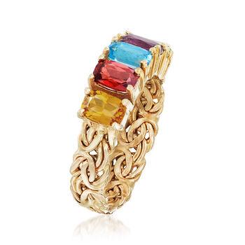2.60 ct. t.w. Multi-Gemstone Byzantine Ring in 14kt Yellow Gold, , default