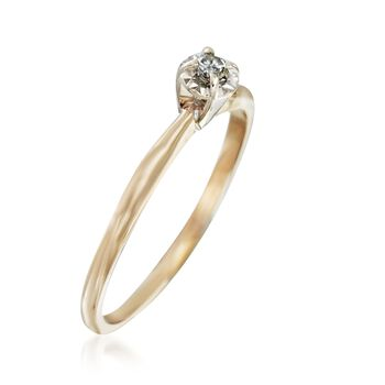 C. 1970 Vintage Diamond Accent Solitaire Ring in 14kt Yellow Gold. Size 7.25, , default