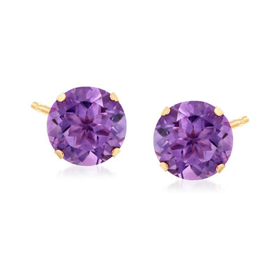 7.25 ct. t.w. Amethyst Stud Earrings in 14kt Yellow Gold, , default