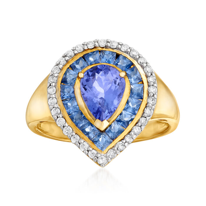 1.00 Carat Tanzanite, .90 ct. t.w. Sapphire and .24 ct. t.w. Diamond Ring in 14kt Yellow Gold