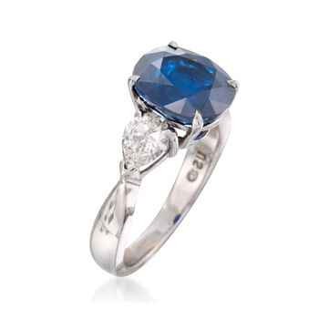 C. 2000 Vintage 4.85 Carat Sapphire and 1.00 ct. t.w. Diamond Ring in 14kt White Gold. Size 7, , default